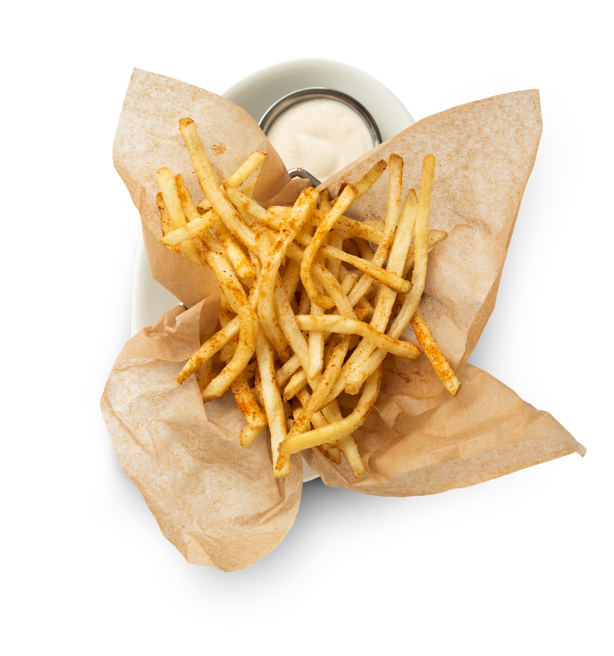 a side of french fries on a plate with a dipping sauce